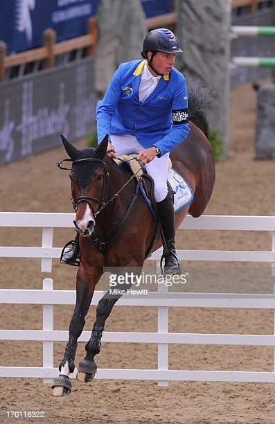 Christian Ahlmann of Germany in action during the Longines Global Champions Tour of London Day Two at Olympic Park on June 7 2013 in London England