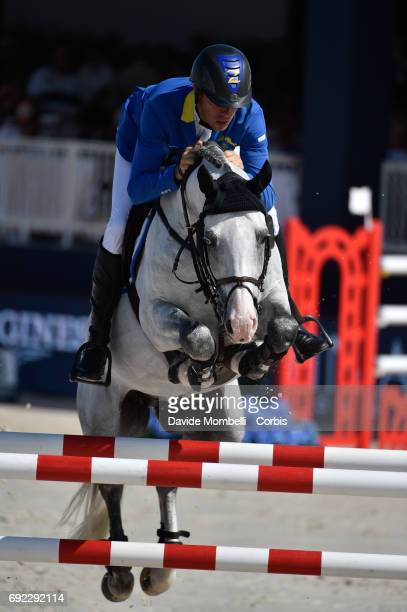 Christian Ahlmann of Germany riding Caribis Z to victory during the Longines Grand Prix at the Longines Athina Onassis Horse Show on June 3 2017 in...