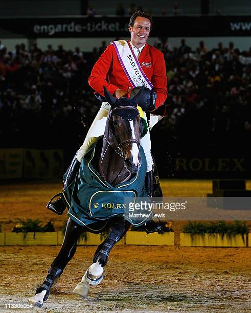 Christian Ahlmann of Germany riding Taloubet Z pictured after winning the Rolex FEI World Cup Jumping Final 2011 at the Messegelande on May 01 2011...
