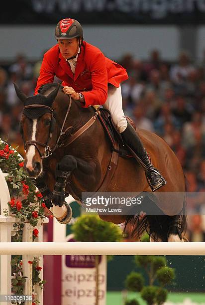 Christian Ahlmann of Germany riding Taloubet Z pictured in action during the Rolex FEI World Cup Jumping Final 2011 at the Messegelande on May 01...