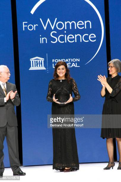Christian Amatore Laureate for Africa and the Arab States Professor Niveen M Khashab and Assistant DirectorGeneral for Natural Sciences Doctor Flavia...