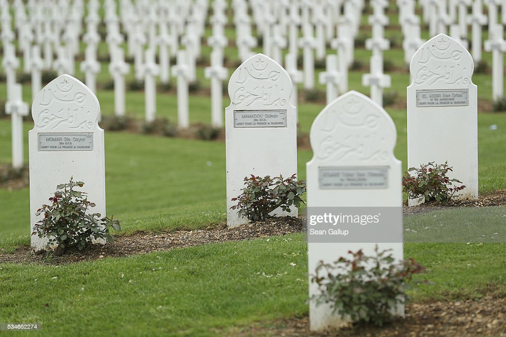 Christian and Muslim markers stand at the graves of French and French colonial soldiers killed in the World War I Battle of Verdun at the ossuary of Douaumont on May 27, 2016 in Verdun, France. The governments of France and Germany will commemorate the 100th anniversary of the battle with ceremonies this coming Sunday. Approximately 300,000 soldiers lost their lives in the 10-month campaign that was among the most grueling battles of the war.