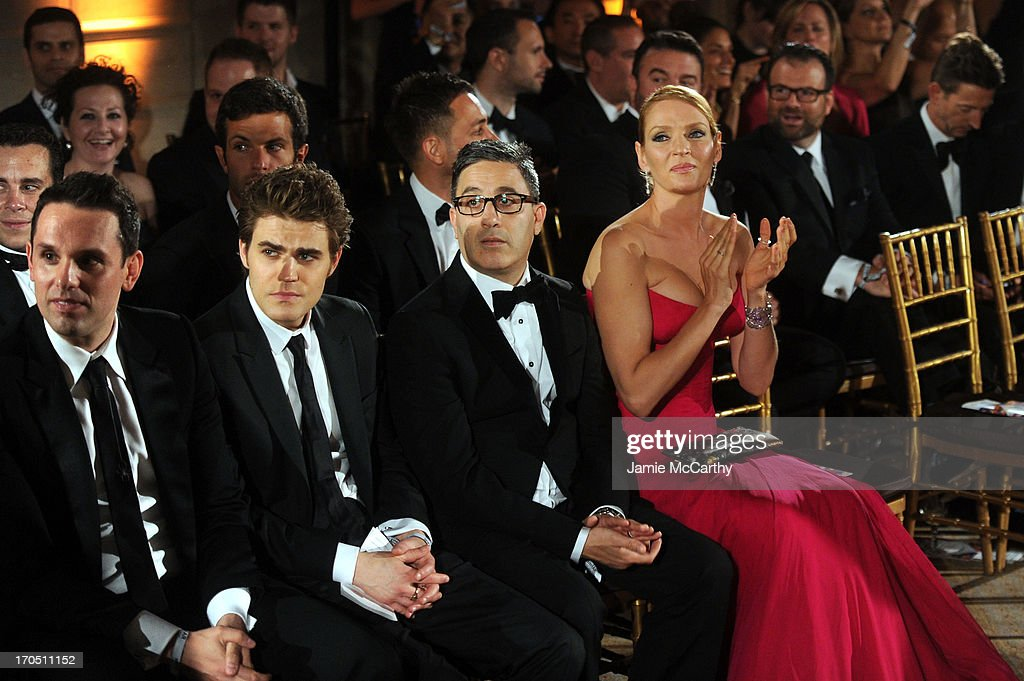 Christian Angermayer, actor Paul Wesley, Jason Weinberg and actress Uma Thurman watch the runway show during the 4th Annual amfAR Inspiration Gala New York at The Plaza Hotel on June 13, 2013 in New York City.