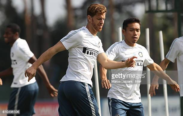 Christian Ansaldi and Yuto Nagatomo of FC Internazionale Milano train during the FC Internazionale training session at the club's training ground 'La...