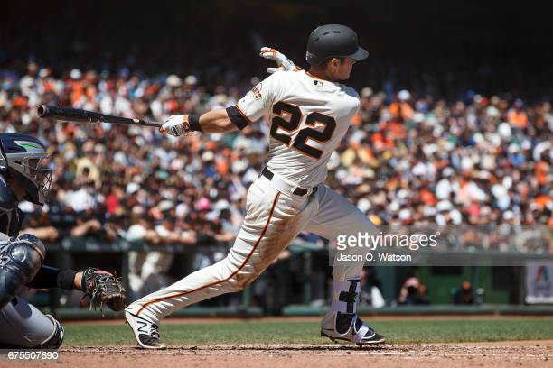 Christian Arroyo of the San Francisco Giants at bat against the San Diego Padres during the fourth inning at ATT Park on April 30 2017 in San...