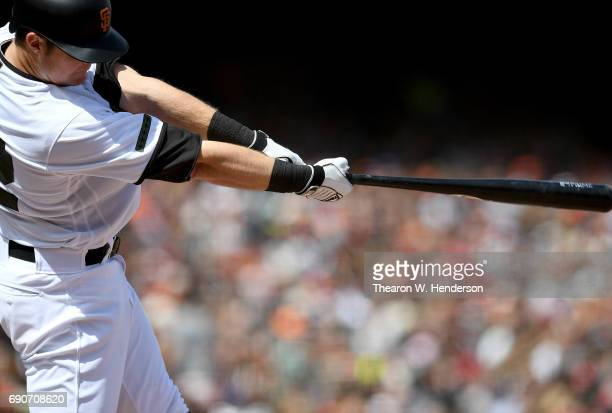 Christian Arroyo of the San Francisco Giants bats against the Washington Nationals in the bottom of the seventh inning at ATT Park on May 29 2017 in...