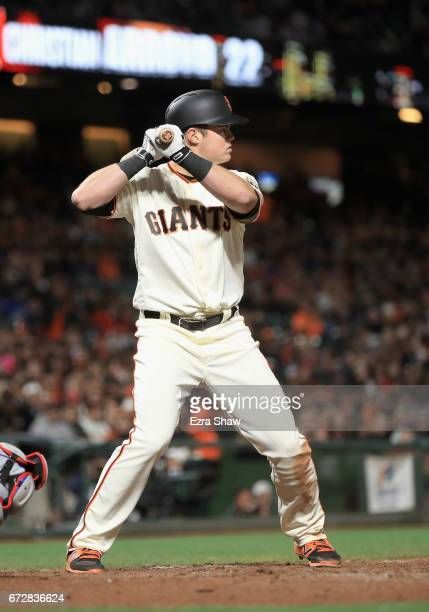 Christian Arroyo of the San Francisco Giants bats against the Los Angeles Dodgers at ATT Park on April 24 2017 in San Francisco California