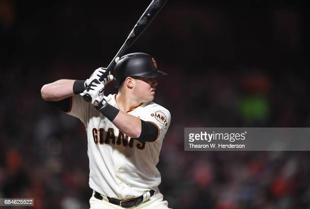 Christian Arroyo of the San Francisco Giants bats against the Los Angeles Dodgers in the bottom of the six inning at ATT Park on May 15 2017 in San...
