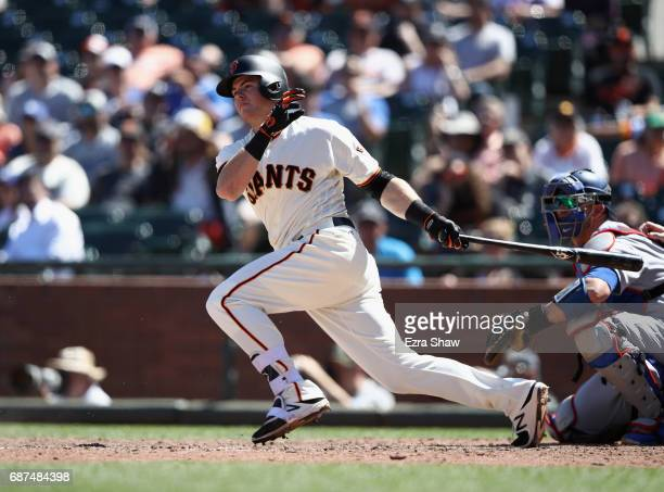 Christian Arroyo of the San Francisco Giants bats against the Los Angeles Dodgers at ATT Park on May 17 2017 in San Francisco California