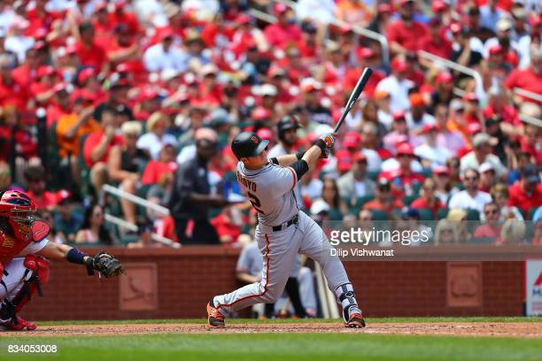 Christian Arroyo of the San Francisco Giants bats against the St Louis Cardinals at Busch Stadium on May 21 2017 in St Louis Missouri