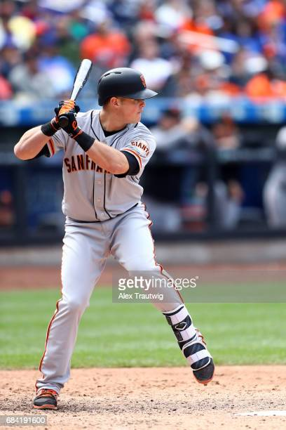 Christian Arroyo of the San Francisco Giants bats during the game against the New York Mets at Citi Field on Wednesday May 10 2017 in the Queens...