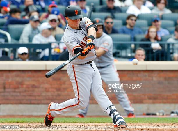 Christian Arroyo of the San Francisco Giants connects on a sixth inning single against the New York Mets at Citi Field on May 10 2017 in the Flushing...