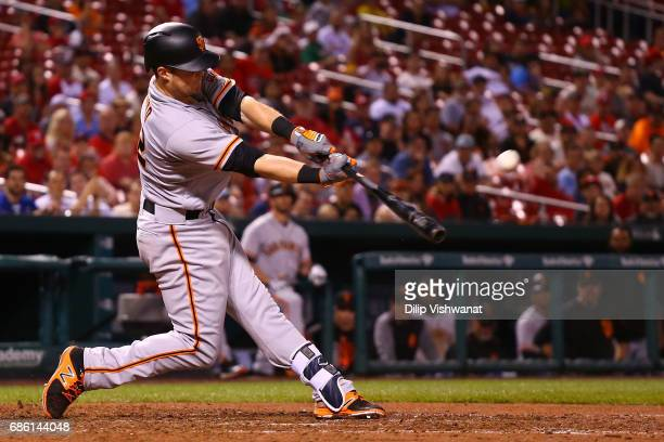 Christian Arroyo of the San Francisco Giants hist a gamewinning RBI double against the St Louis Cardinals in the twelfth inning at Busch Stadium on...