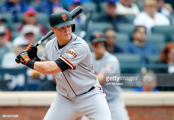 Christian Arroyo of the San Francisco Giants in action against the New York Mets at Citi Field on May 10 2017 in the Flushing neighborhood of the...