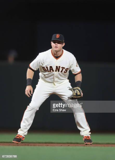 Christian Arroyo of the San Francisco Giants plays third base against the Los Angeles Dodgers at ATT Park on April 24 2017 in San Francisco California