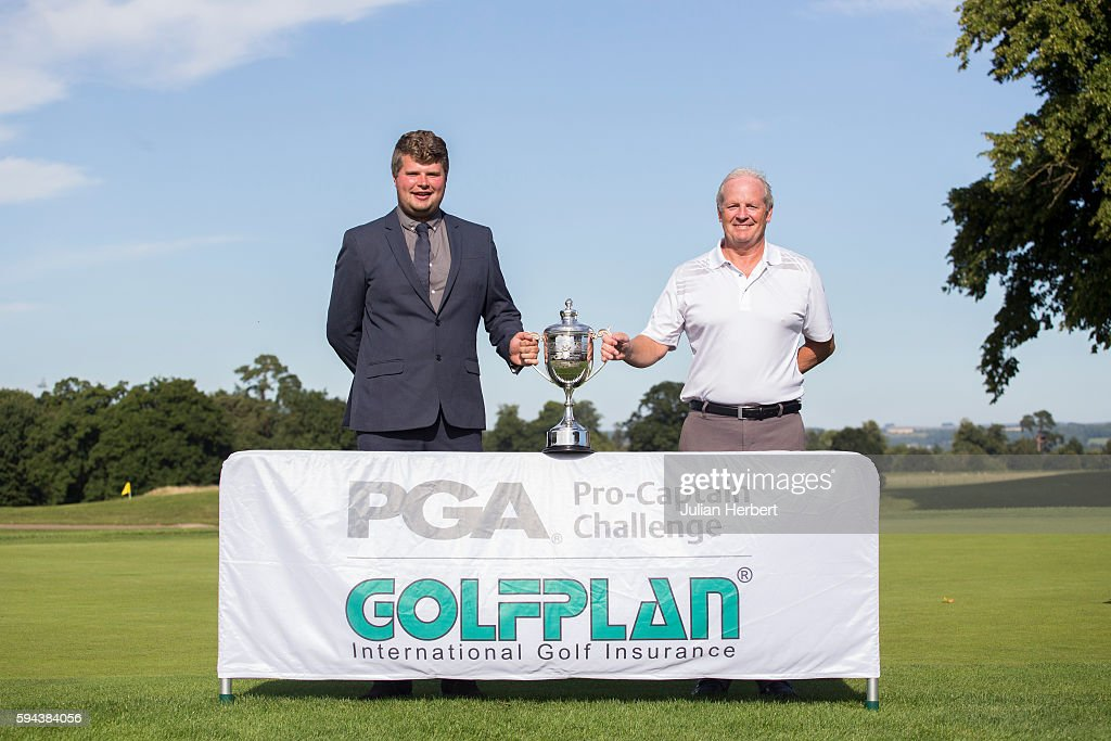 Christian Askins and Owen Golding of Radyr Golf Club after winning The PGA ProCaptain South West Qualifier at Bowood Golf Course on August 23 2016 in...