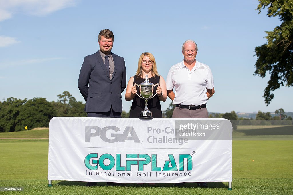 Christian Askins and Owen Golding of Radyr Golf Club with Anya Pearce Head of Operations for Golfplan Insurance after the The PGA ProCaptain South...