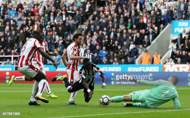 Christian Asu of Newcastle United goes down and appeals for a penalty during the Premier League match between Newcastle United and Stoke City at St...