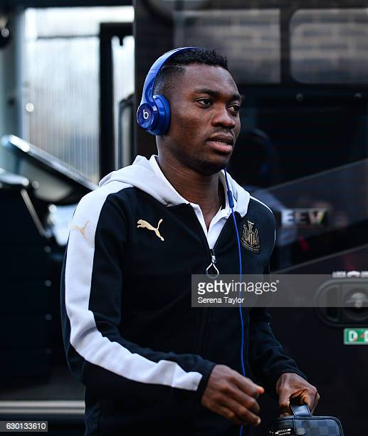 Christian Atsu arrives to the Pirelli Stadium prior to kick off of the Sky Bet Championship match between Burton Albion and Newcastle United at the...