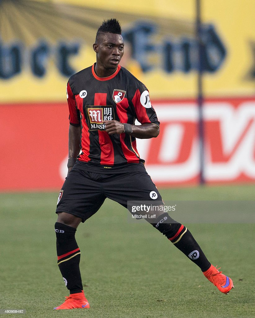 <a gi-track='captionPersonalityLinkClicked' href=/galleries/search?phrase=Christian+Atsu&family=editorial&specificpeople=8284773 ng-click='$event.stopPropagation()'>Christian Atsu</a> #20 of AFC Bournemouth plays in the friendly match against the Philadelphia Union on July 14, 2015 at the PPL Park in Chester, Pennsylvania.