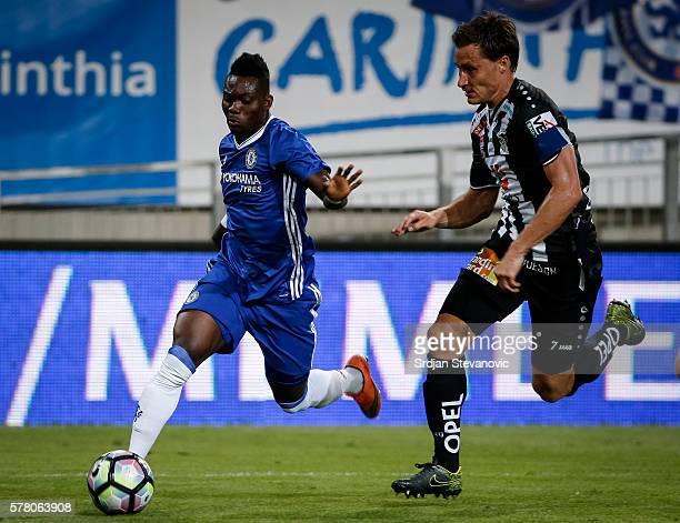 Christian Atsu of Chelsea in action against Dario Baldauf of WAC RZ Pellets the friendly match between WAC RZ Pellets and Chelsea FC at Worthersee...