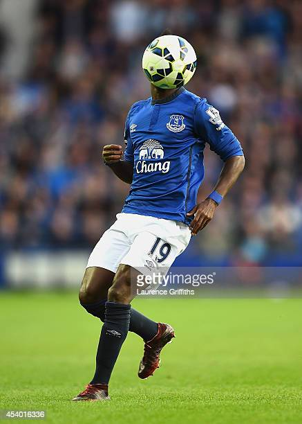Christian Atsu of Everton in action during the Barclays Premier League match between Everton and Arsenal at Goodison Park on August 23 2014 in...