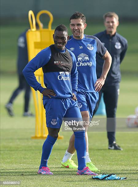 Christian Atsu of Everton looks on during a training session at Finch Farm on September 17 2014 in Liverpool England