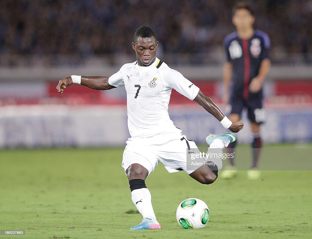 <a gi-track='captionPersonalityLinkClicked' href=/galleries/search?phrase=Christian+Atsu&family=editorial&specificpeople=8284773 ng-click='$event.stopPropagation()'>Christian Atsu</a> of Ghana in action during the international friendly match between Japan and Ghana at International Stadium Yokohama on September 10, 2013 in Yokohama, Japan.
