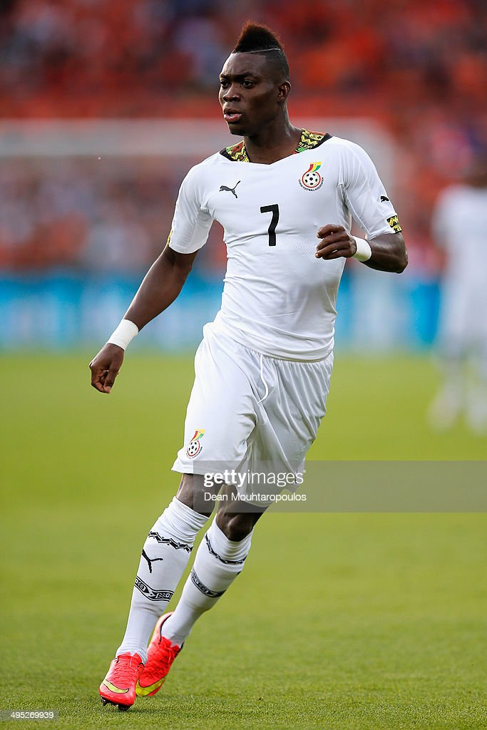<a gi-track='captionPersonalityLinkClicked' href=/galleries/search?phrase=Christian+Atsu&family=editorial&specificpeople=8284773 ng-click='$event.stopPropagation()'>Christian Atsu</a> of Ghana in action during the International Friendly match between Netherlands and Ghana at De Kuip on May 31, 2014 in Rotterdam, Netherlands.