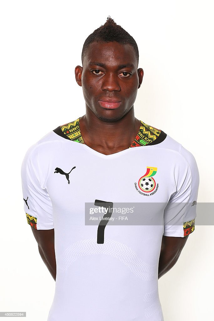 <a gi-track='captionPersonalityLinkClicked' href=/galleries/search?phrase=Christian+Atsu&family=editorial&specificpeople=8284773 ng-click='$event.stopPropagation()'>Christian Atsu</a> of Ghana poses during the official FIFA World Cup 2014 portrait session on June 11, 2014 in Maceio, Brazil.