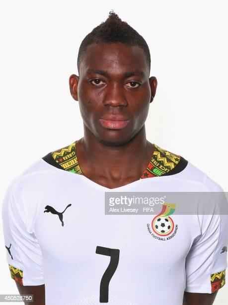Christian Atsu of Ghana poses during the official FIFA World Cup 2014 portrait session on June 11 2014 in Maceio Brazil
