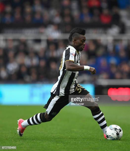 Christian Atsu of Newcastle in action during the Sky Bet Championship match between Newcastle United and Preston North End at St James' Park on April...
