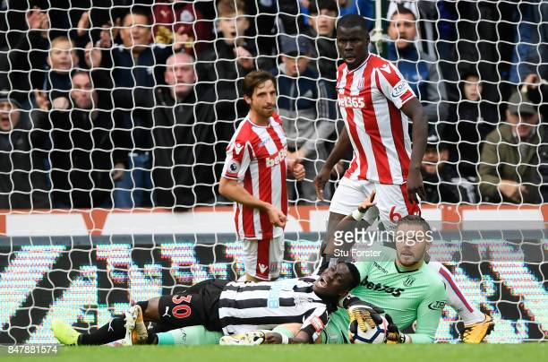 Christian Atsu of Newcastle United appeals for a penalty during the Premier League match between Newcastle United and Stoke City at St James Park on...