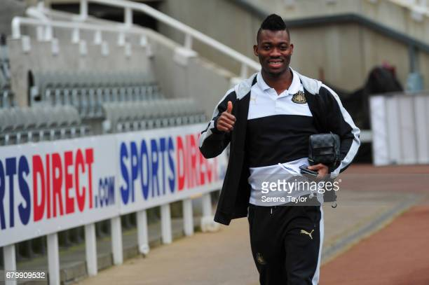 Christian Atsu of Newcastle United arrives during the Sky Bet Championship Match between Newcastle United and Barnsley at StJames' Park on May 7 2017...