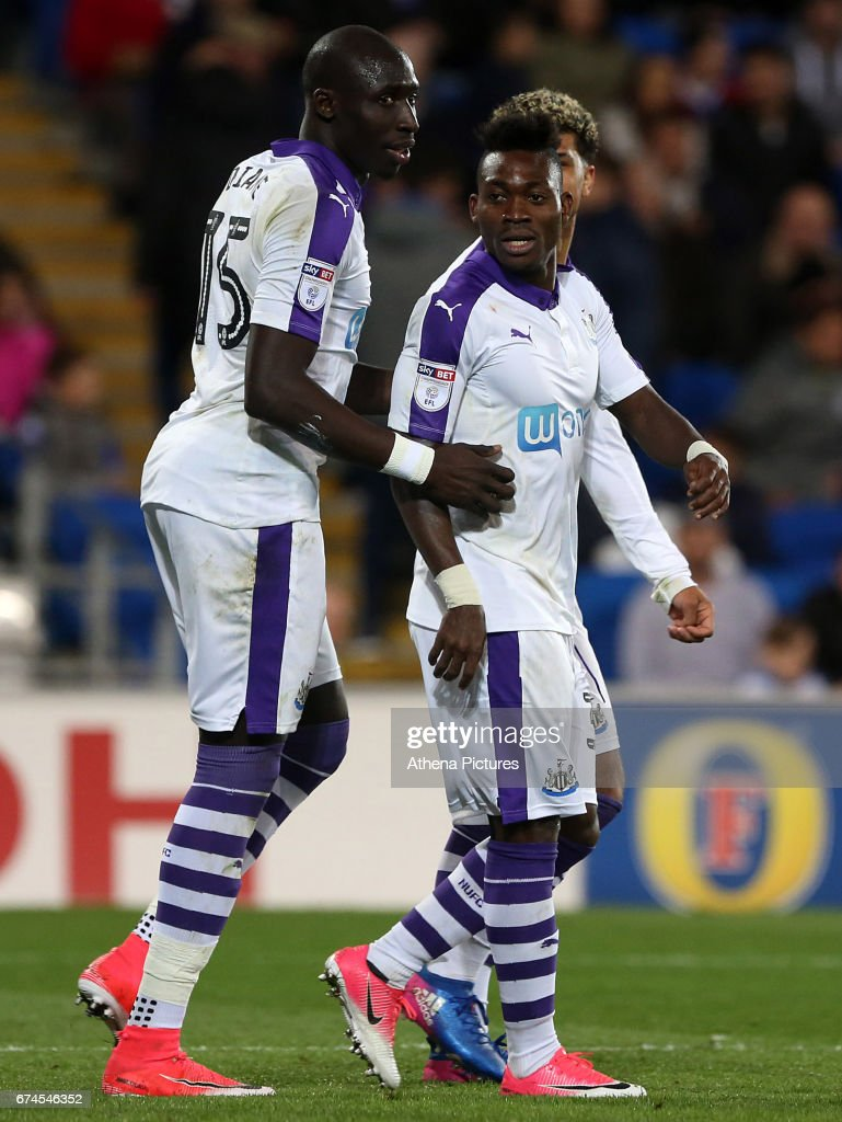 Christian Atsu of Newcastle United celebrates scoring his sides first goal of the match during the Sky Bet Championship match between Cardiff City and Newcastle United at the Cardiff City Stadium on April 28, 2017 in Cardiff, Wales.