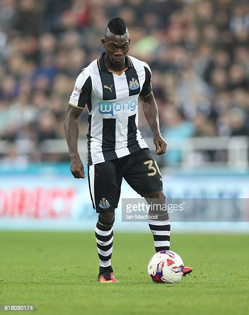 Christian Atsu of Newcastle United controls the ball during the EFL Cup Fourth Round match between Newcastle United and Preston North End at St...