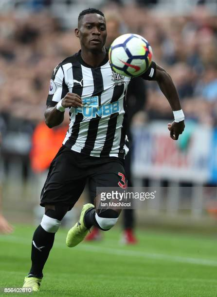 Christian Atsu of Newcastle United controls the ball during the Premier League match between Newcastle United and Liverpool at St James Park on...