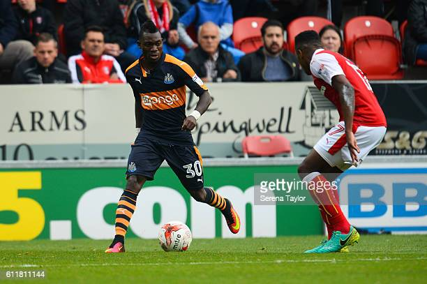 Christian Atsu of Newcastle United controls the ball during the Sky Bet Championship match between Rotherham United and Newcastle United at The New...