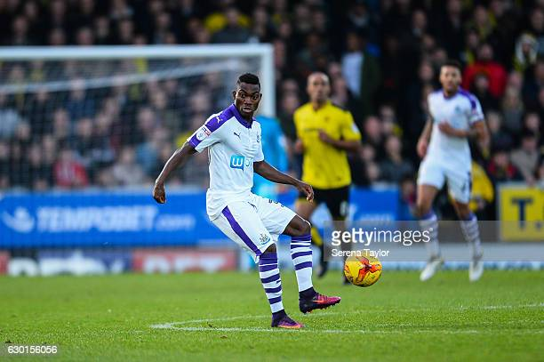 Christian Atsu of Newcastle United controls the ball during the Sky Bet Championship match between Burton Albion and Newcastle United at the Pirelli...