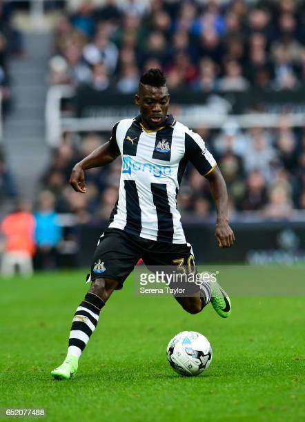 Christian Atsu of Newcastle United controls the ball during the Sky Bet Championship Match between Newcastle United and Fulham at StJames' Park on...
