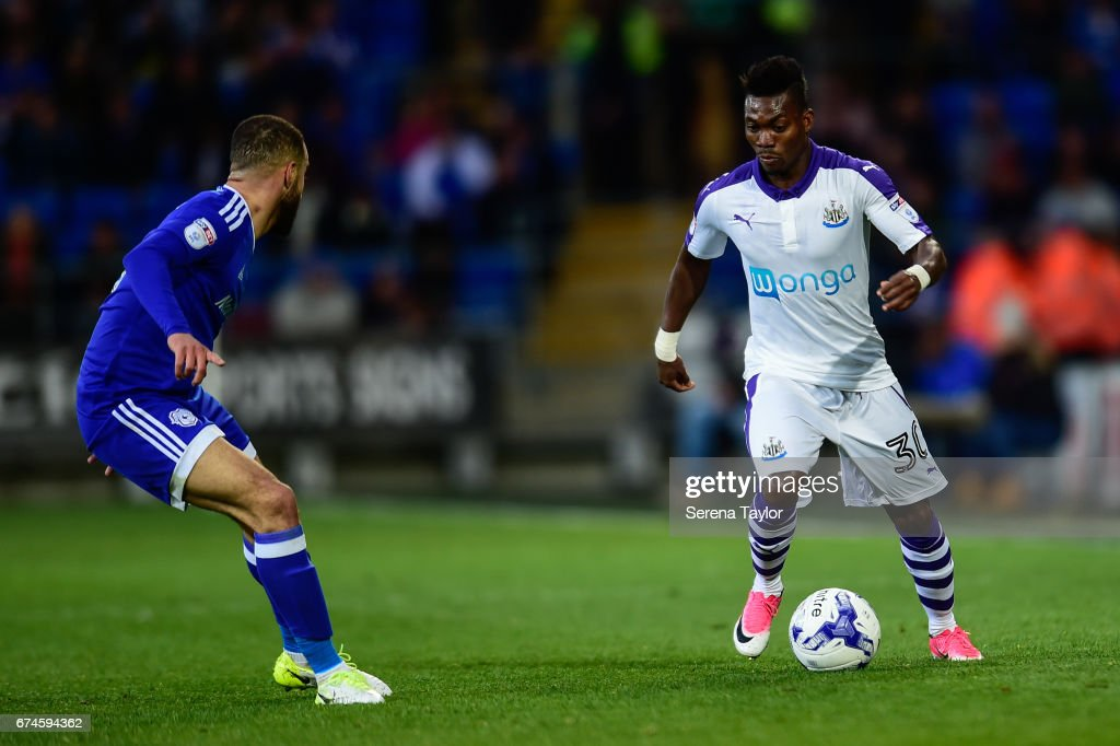 Christian Atsu of Newcastle United (30) controls the ball during the Sky Bet Championship match between Cardiff City and Newcastle United at the Cardiff City Stadium on April 28, 2017 in Cardiff, Wales.