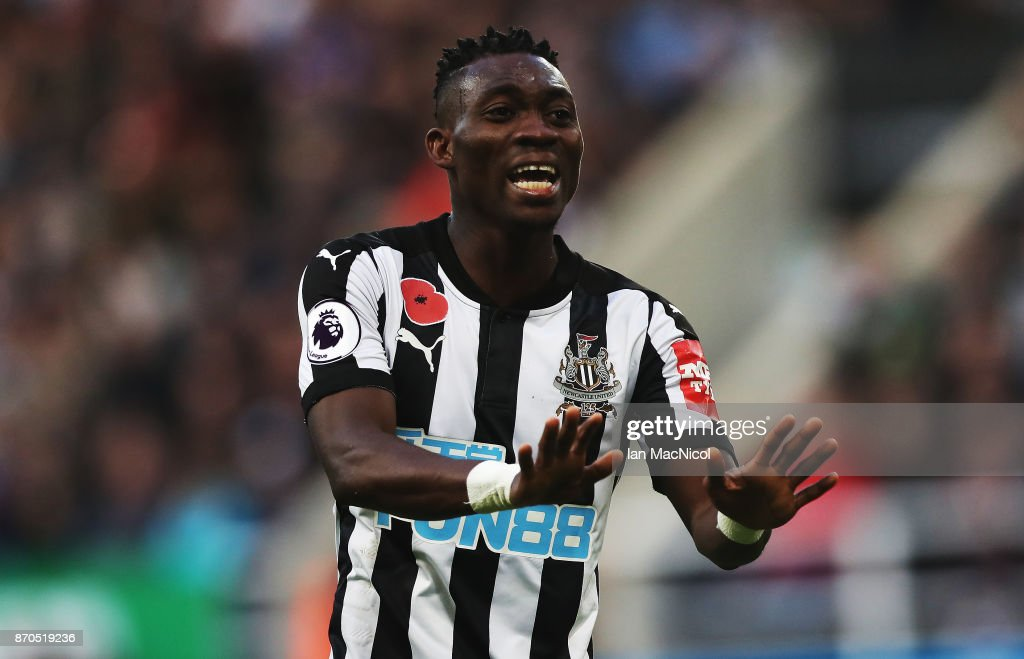 Christian Atsu of Newcastle United is seen during the Premier League match between Newcastle United and AFC Bournemouth at St. James Park on November 4, 2017 in Newcastle upon Tyne, England.