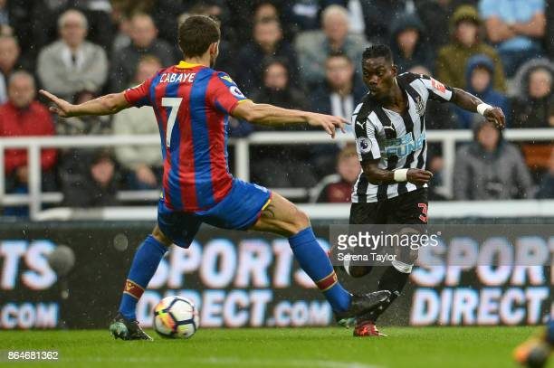 Christian Atsu of Newcastle United passes the ball during the Premier League match between Newcastle United and Crystal Palace at StJames' Park on...
