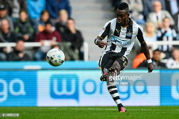Christian Atsu of Newcastle United strikes the ball during the Sky Bet Championship Match between Newcastle United and Brentford at StJames' Park on...