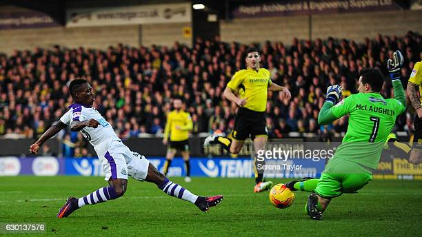 Christian Atsu of Newcastle United strikes the ball during the Sky Bet Championship match between Burton Albion and Newcastle United at the Pirelli...