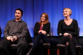 Christian Bale Amy Adams and Jennifer Lawrence attend the Academy of Motion Picture Arts and Sciences Official Academy Members screening of 'American...
