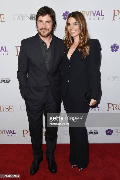 Christian Bale and Sibi Blazic attend the New York Screening of 'The Promise' at The Paris Theatre on April 18 2017 in New York City