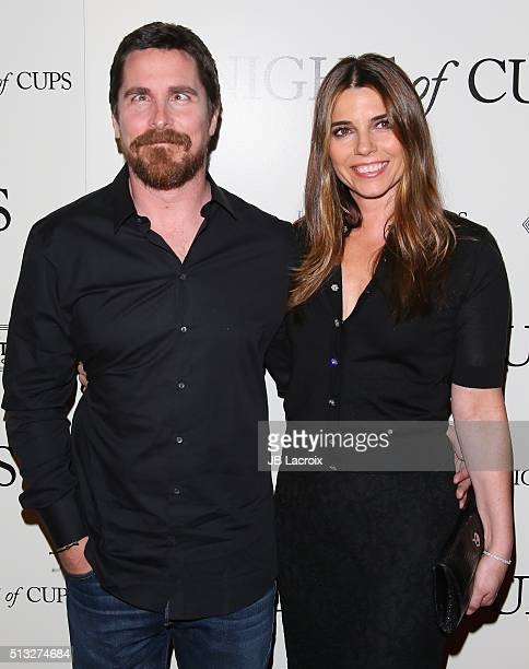 Christian Bale and Sibi Blazic attend the premiere of Broad Green Pictures' 'Knight of Cups' held at The Theatre at Ace Hotel on March 1 2016 in Los...