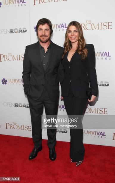 Christian Bale and Sibi Blazic attend 'The Promise' New York screening at The Paris Theatre on April 18 2017 in New York City