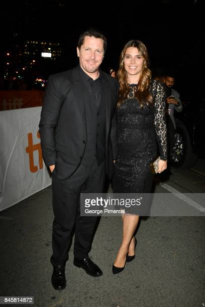 Christian Bale and Sibi Blazic attends the 'Hostiles' premiere during the 2017 Toronto International Film Festival at Princess of Wales Theatre on...